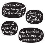 Hand-drawn Calendar Set. Set of Months of the Year. Royalty Free Stock Image