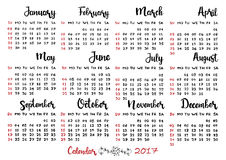 Hand drawn calendar 2017. Week starts on Sunday. Modern vector calligraphy. Months of the year lettering for your design Stock Illustration