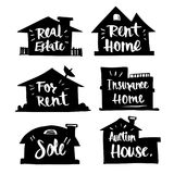 Hand drawn Caligraphy in silhouette house, real estate, rent   Royalty Free Stock Photos