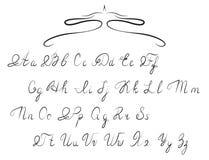 Hand drawn calligraphic Alphabet Stock Photo