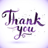Hand drawn calligraphic design for sign Thank you Stock Photos