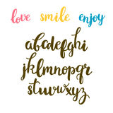 Hand drawn calligraphic font. Cute letters. Lettering alphabet. Vector illustration Royalty Free Stock Image