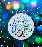 Hand drawn calligraphic inscription Merry Christmas Stock Photography