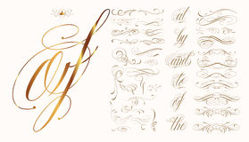 Hand drawn calligraphic set. Handmade tattoo lettering and decorative elements Stock Images