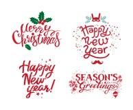 Merry Christmas, Seasons Greetings, Happy New Year vector illustration