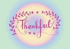 Hand drawn  calligraphic. Thankful. Royalty Free Stock Images