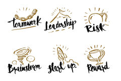 Hand drawn calligraphy business concepts, teamwork, leadership, stock illustration