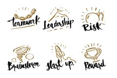 Hand drawn calligraphy business concepts, teamwork, leadership, Royalty Free Stock Images