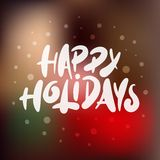 Hand drawn calligraphy for Christmas and New Year holiday on blurred background. royalty free illustration