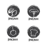 Hand drawn calligraphy cooking, cuisine logo, Icon and label for Royalty Free Stock Photos
