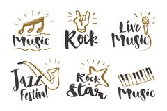 Hand drawn calligraphy Music, rock, jazz festival, rock star,. Hand drawn calligraphy Music, rock, jazz festival, rock star, live music and instruments icon or Stock Image