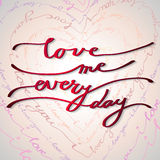 Hand drawn callygraphy card. Valentine love card Royalty Free Stock Photography