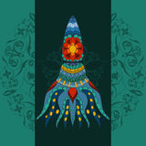 Hand drawn calmar. calmar dark background, calmar in tribal. Doodle calmar.  Colored calmar with tall on ornamental. Dark mandala background Royalty Free Stock Photography