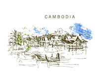 Free Hand Drawn Cambodia Landscape Sketch. Royalty Free Stock Image - 69300926