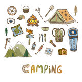 Hand drawn camping elements. Summer vacation icons. Vector sketches set of travel icons Stock Image