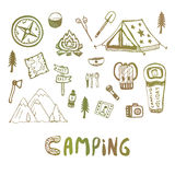 Hand drawn camping elements. Summer vacation icons. Vector skethes. Royalty Free Stock Photos
