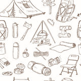 Hand drawn camping equipment drawings seamless pattern. Stock Photo