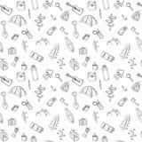 Hand drawn camping and hiking seamless pattern. Picnic, hiking, Stock Photo