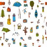 Hand drawn camping and hiking seamless pattern. Picnic, hiking, Royalty Free Stock Photo