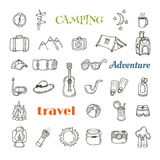 Hand drawn camping icon set. Collection of camping and hiking eq. Uipment symbols. Vector illustration Stock Images