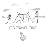 Hand drawn camping icons set. Camping icons to use for web and mobile UI Stock Photography