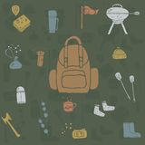 Hand drawn camping icons set. Camping icons to use for web and mobile UI Stock Image