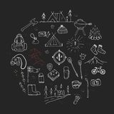 Hand drawn camping icons set. Camping icons to use for web and mobile UI Royalty Free Stock Photography