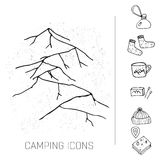 Hand drawn camping icons set. Camping icons to use for web and mobile UI Royalty Free Stock Images