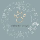 Hand drawn camping icons set. Camping icons to use for web and mobile UI Stock Images