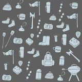 Hand drawn camping icons set. Camping icons to use for web and mobile UI Royalty Free Stock Image