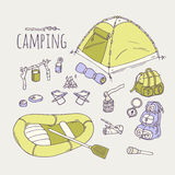 Hand drawn camping items collection Royalty Free Stock Photography