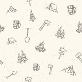 Hand drawn camping seamless pattern. Royalty Free Stock Photos