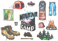 Hand drawn camping set with watercolor elements. Camp bonfire, vintage lantern, roasted marshmallow, camper knife Stock Images