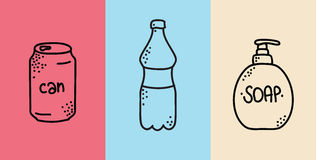 Hand drawn can and bottle icons for design. Vector Stock Photography