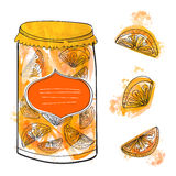 Hand drawn can with homemade orange jam and Royalty Free Stock Photography
