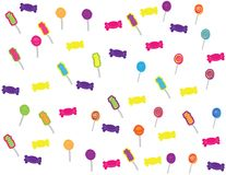 Hand drawn candies and sweets pattern. Colorful background .hand drawn sweets on white background stock illustration