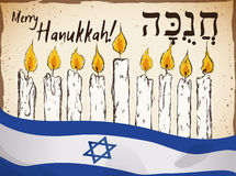 Hand Drawn Candles and Israel Flag for Hanukkah Celebration, Vector Illustration Stock Image