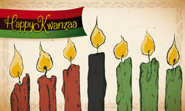 Hand Drawn Candles with little Ribbon for Kwanzaa Celebration, Vector Illustration Royalty Free Stock Photo