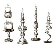 Hand drawn candles. Retro candlesticks. Royalty Free Stock Images