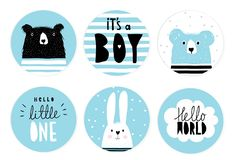 Hand Drawn Candy Bar Baby Shower Vector Tag Set. Blue and White Circle Shape Tags. Black Hand Written Letters. White Bunny, Black Big Bear and Blue Little One vector illustration