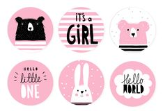 Hand Drawn Candy Bar Baby Shower Vector Tag Set. Teddy Bears, Bunny and Letters in a circle. Hand Drawn Candy Bar Baby Shower Vector Tag Set. Pink and White Royalty Free Stock Image