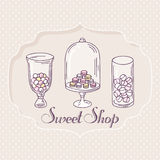 Hand drawn candy bar objects. Pastry shop label Royalty Free Stock Photo