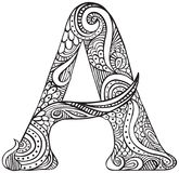 Illustrated letter A. Hand drawn capital letter A in black - coloring sheet for adults Royalty Free Stock Photos