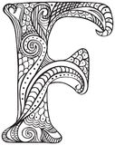 Illustrated letter F. Hand drawn capital letter F in black - coloring sheet for adults Stock Photography