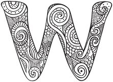 Illustrated letter W. Hand drawn capital letter W in black - coloring sheet for adults royalty free illustration