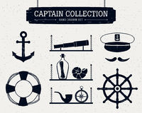 Hand drawn captain icons set. Stock Photo