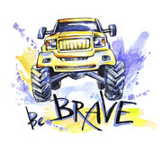 Hand drawn card with big car and lettering. Words Be Brave . Watercolor multicolor illustration. Active crazy sport Stock Image