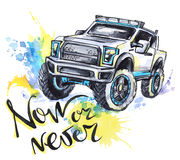 Hand drawn card with big car and lettering. Words Now or Never . Watercolor multicolor illustration. Active crazy sport Stock Images