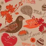 Hand drawn card. Bird and teacups. Stock Photos