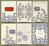 Hand drawn card collection with floral element. Invitation, book cover Royalty Free Stock Photos